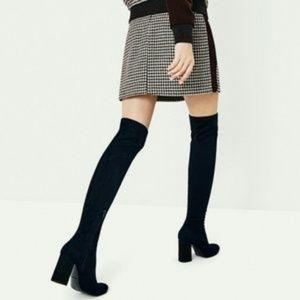 Zara OTK Black Suede Boots Size 41